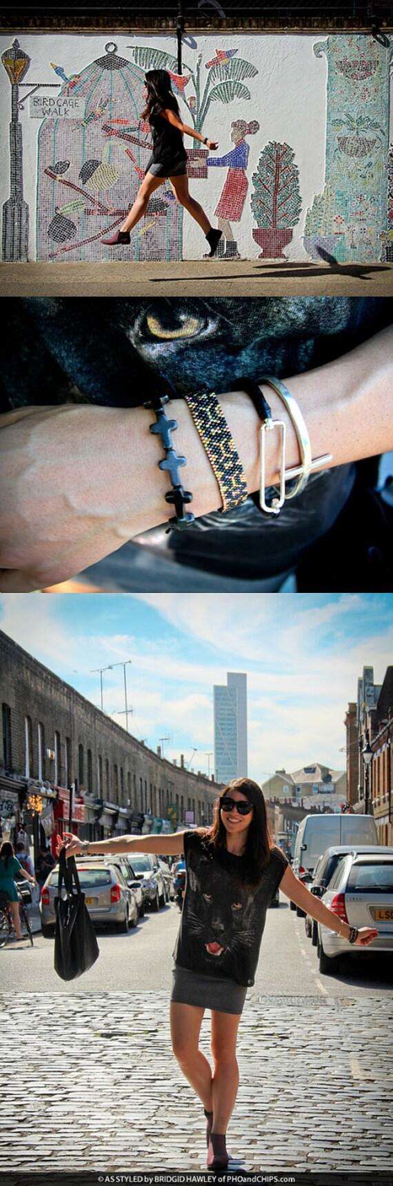 Aztec Black Bracelet, Black Cord Bracelet, Snakeskin Effect Bracelet, Black & Gold Bracelet, OOAK Handmade by JeannieRichard