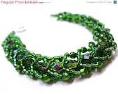 Black Friday SALE Dazzling Green Bracelet - Beaded Flat Spiral - MegansBeadedDesigns