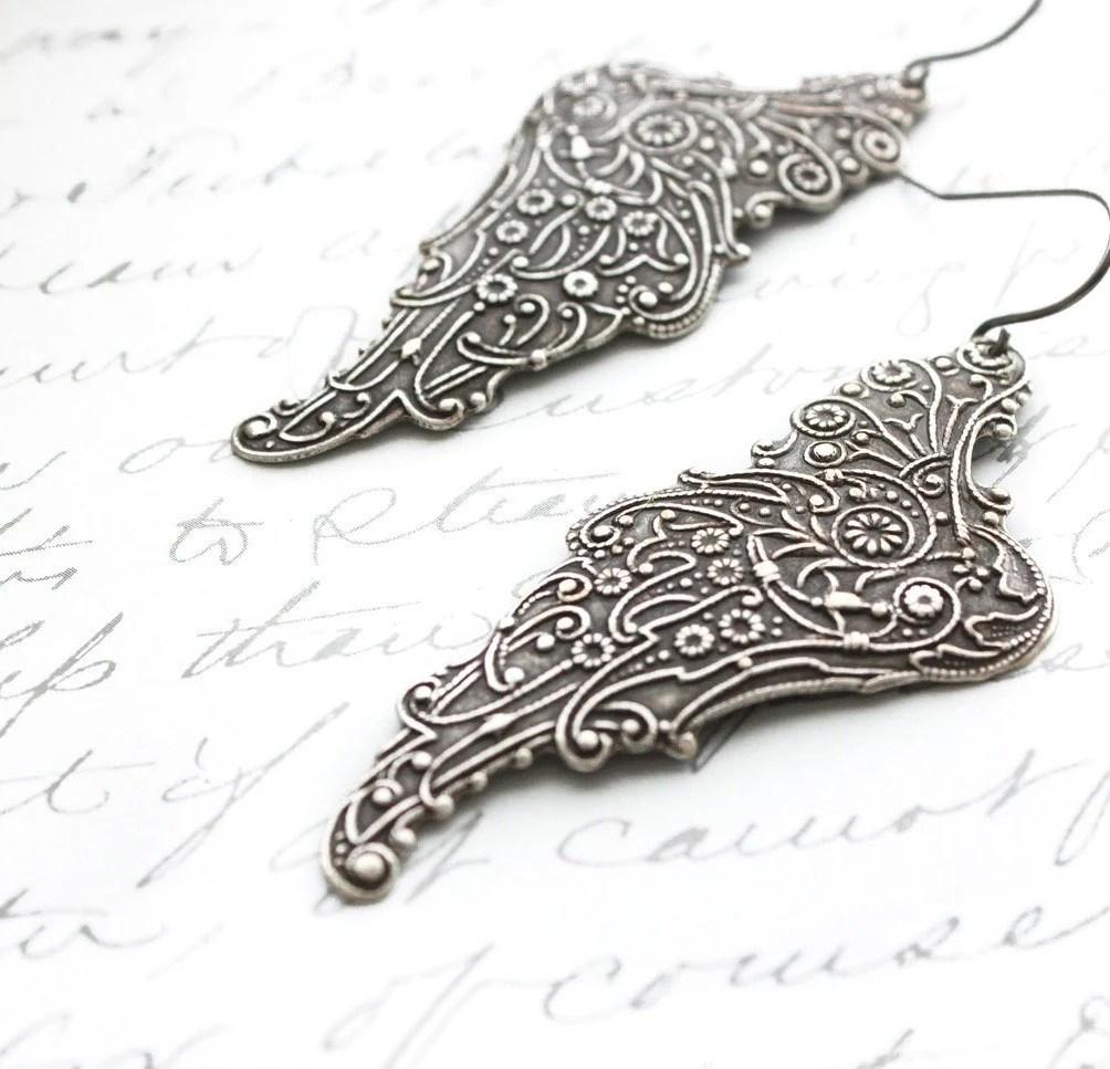 Silver Wing Earrings, Long Dangle, Antique Silver, Grey Pixie Wings, Filigree Angel Wings, Lightweight  Faerie, Romantic Jewelry - apocketofposies
