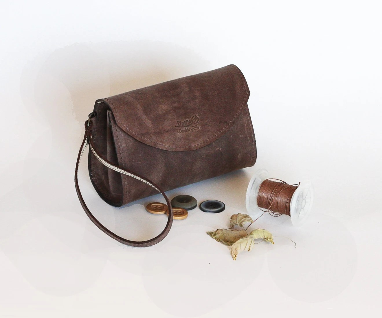 Leather bag, Brown leather wristlet,  Dalfia leather handbag, evening and everyday bag - Dalfia