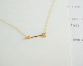 tiny arrow necklace in gold