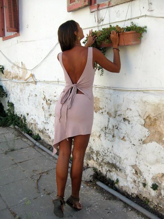 A-symmetric open back dress, pixie dress, fairy dress, goddess dress, funky dress, bow dress
