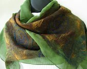 Nuno felted Scarf -Avacado Green Silk Chiffon with Brown teal blue wool and gold bamboo texture womens scarves silk scarves - amysfunkyfibers