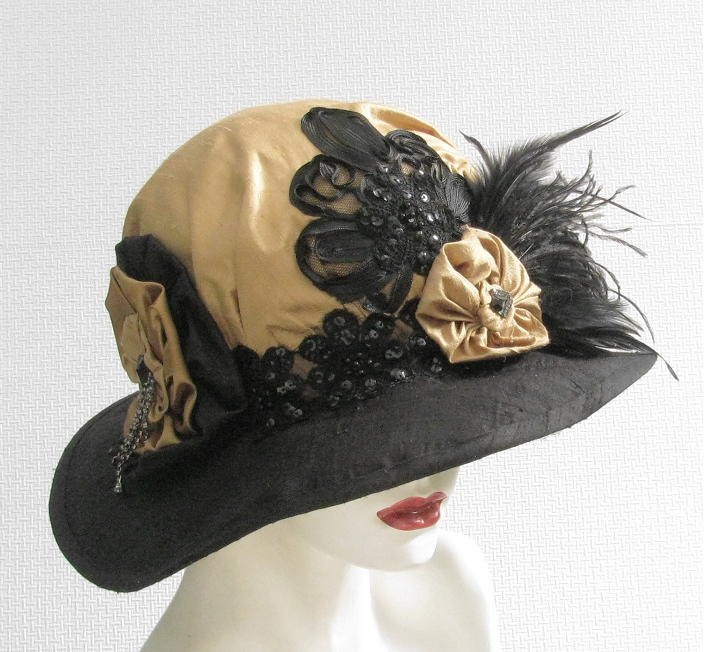 Womens Hat Vintage Style Edwardian Hat with Feathers Titanic Style Hats  Black and Gold Downton Abbey Hat