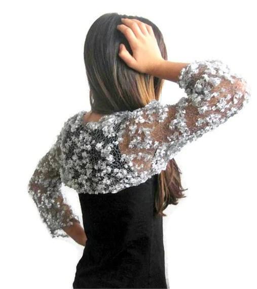 Elegant Shrug,  Bolero,  in Silver, Gray, Grey,  Spring Fashion, Trendy,Knitted - Iovelycrochet
