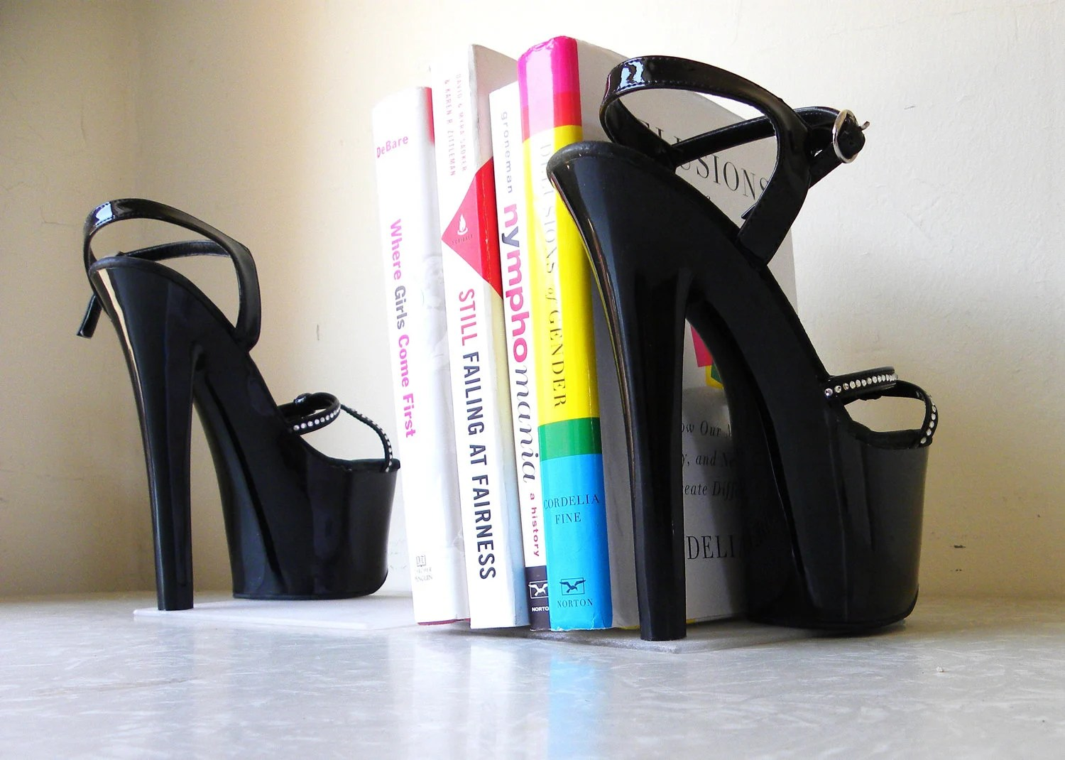 bookends. repurposed black high heel platform pumps with rhinestones.book lover gift. bibliophile. upcycled.