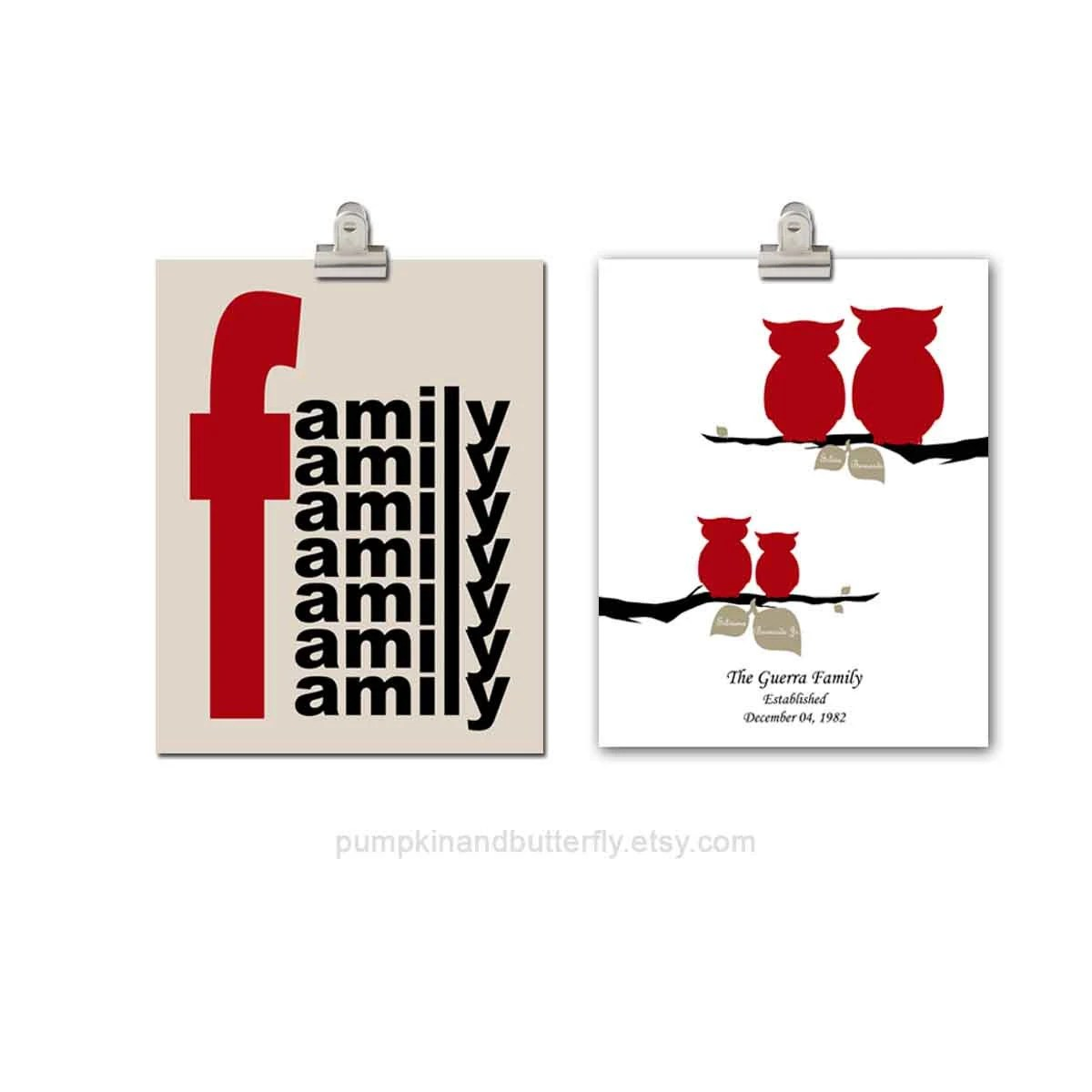 Family Tree Print, Home Sweet Home, Housewarming Gift, Set of Two 11x14 Print, Red, Black, White,  Love, Unisex - pumpkinandbutterfly