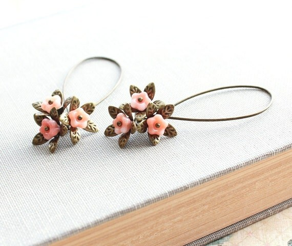 Long Earrings, Dangle Earrings, Pink Peach Flower, Brass Leaf, Glass Bead, Antique Brass Leaf, Nature Inspired Jewelry, Unique Earrings