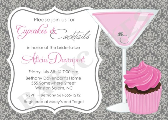 Cupcakes and Cocktails Bridal Shower Invitation Bachelorette Birthday DIY Printable Invitation - jcbabycakes