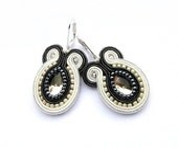 Pale yellow hand embroidered earrings, yellow, grey, ecru, soutache earrings - mintESSENCE