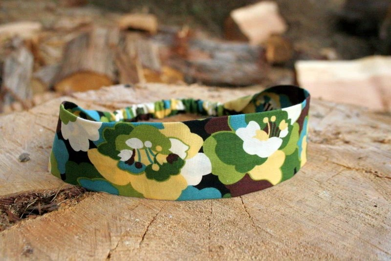Ladies fabric headband in Green, brown, and Yellow - shellebelle216