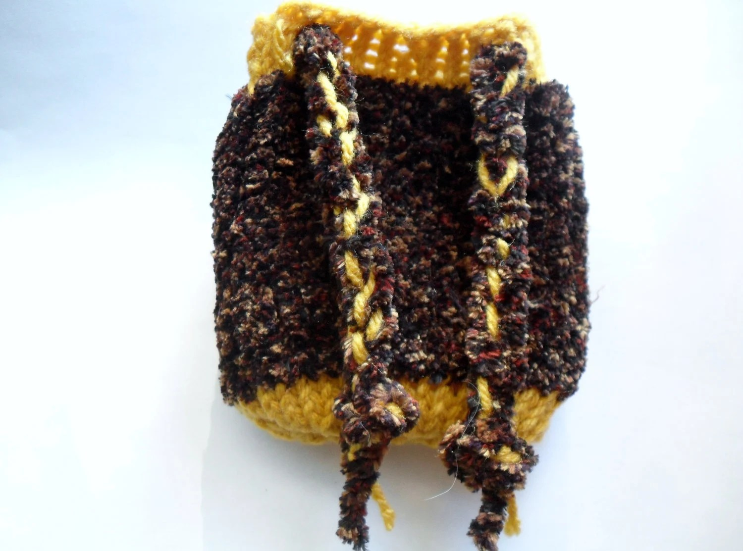 Knitted brown and yellow pouch / dice bag - Crystalcat1989