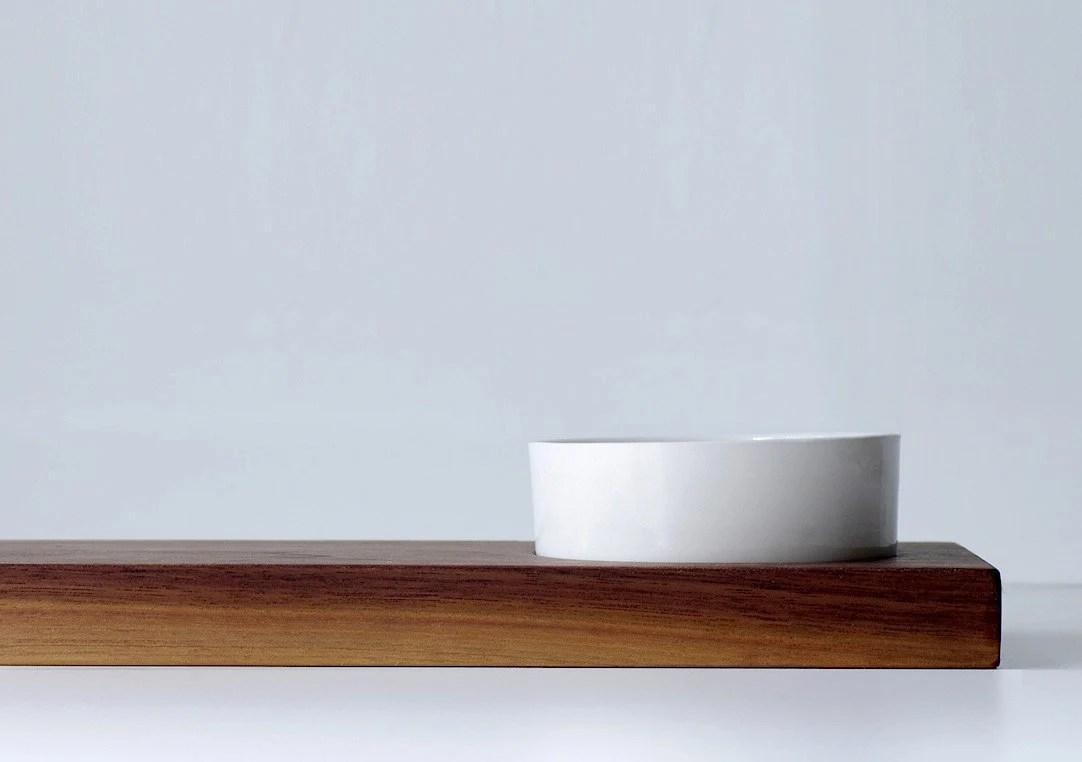 Modern Eco Walnut Breadboard with Small Handmade White Porcelain Gloss White Glaze - TheDesignPallet