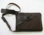 Dark brown leather messenger bag. - WoodBoneAndStone