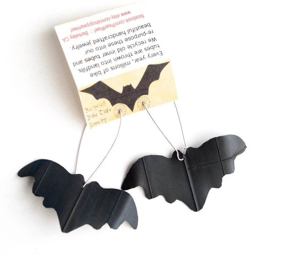 Upcycled Bike Tube Halloween Bat Earrings - pearlreef
