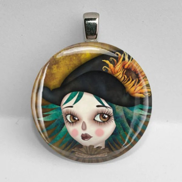 FALL witch scarecrow halloween GLASS pendant necklace women teen gift 30mm - petalsofgrace