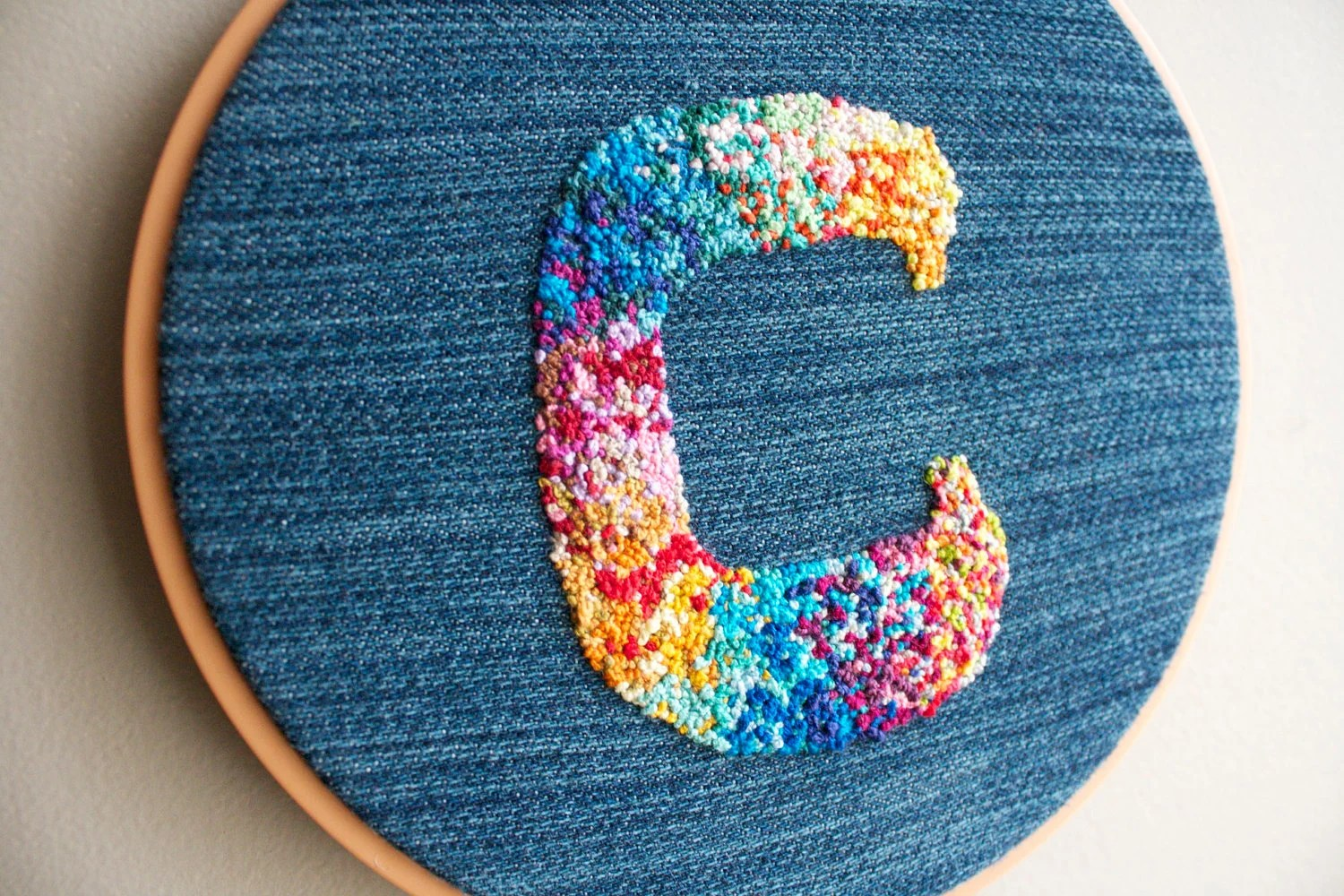 Custom Hand Embroidered Letter // Custom Embroidery // Colorful French Knots // Wall Decoration // Embroidered Initial // Denim Hoop Art
