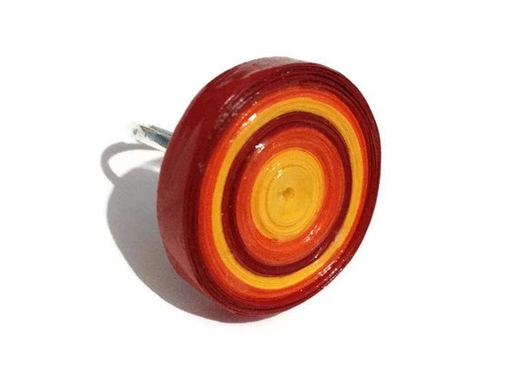 Retro Cocktail Ring - Bullseye, Mulitcolored, Chunky, Red, Yellow, Orange - PurpleSmoothie