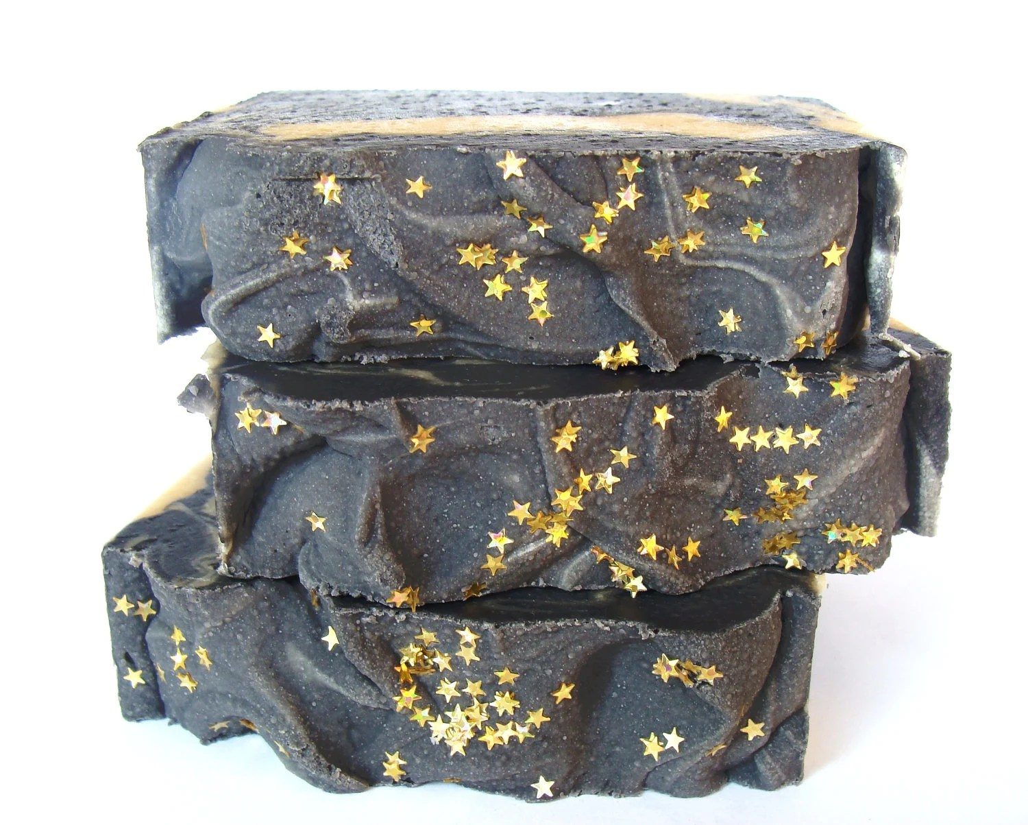 Reach For the Stars Soap Activated Charcoal Eucalyptus Essential Oil Soap Black Gold New Year - ABreathOfFrenchAir