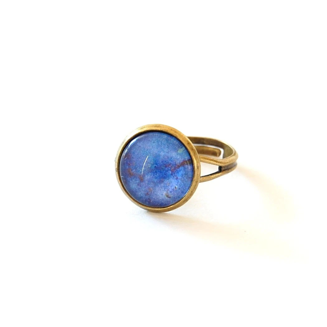 Lapis Lazuli Ring, Cobalt Blue Adjustable Glass Dome Ring. - JujuTreasures