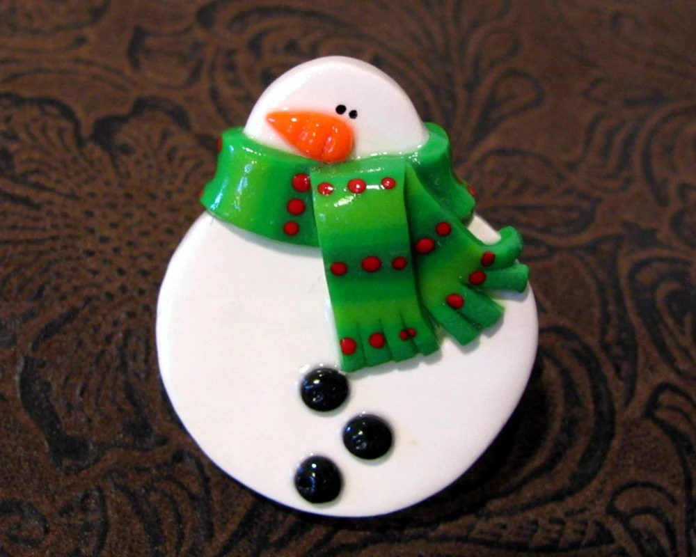Snowman Pin with Green Striped Scarf Handmade Polymer Clay Jewelry - JenniferSumner