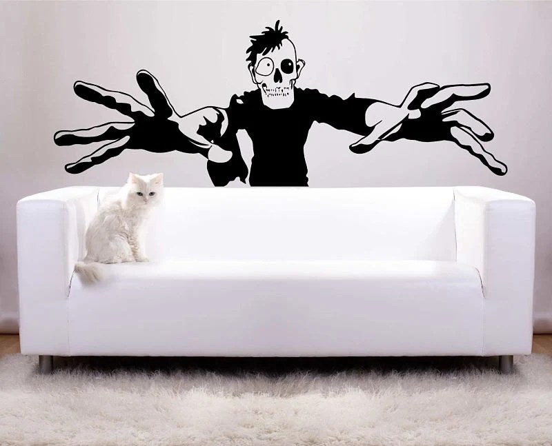 Huge Zombie Halloween Decoration Vinyl Wall Decal Photo Backdrop