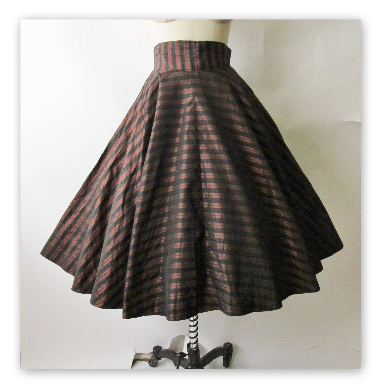 50's Taffeta Skirt //  Vintage 1950's Bronze Striped Taffeta Full Circle Skirt S - TheVintageStudio