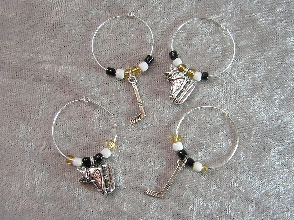 Hockey Wine Charm Set of Four Wine Glass Markers - Your Choice of Team Colors - Handmade by Rewondered D643W-00006 - $14.95