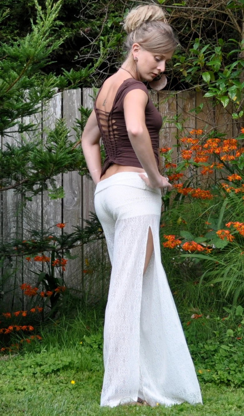 Lace Palazzo Pants with Side Slits, Built In Booty Shorts, Also Available in Black