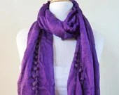 Spring scarf IMPERIAL PURPLE with pom pom edge - scarflette cowl neckwarmer - Spring / Summer - OriginalDesignsByAR