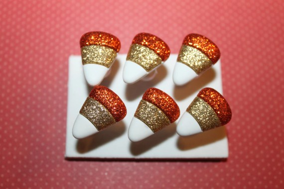 Glitter Candy Corn Push Pins/ Thumb Tacks Set of 6 - Rescuedawgdesigns
