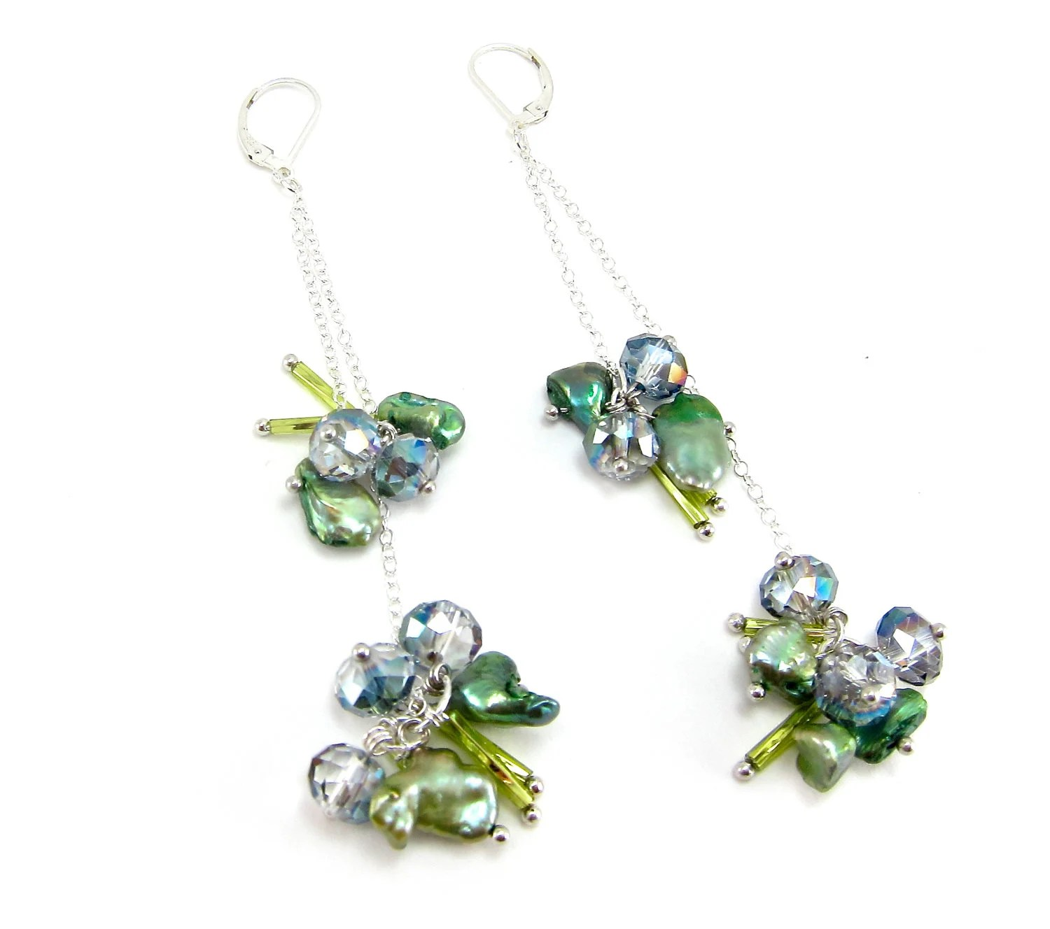 Shady Lady Pearl and Crystal Earrings - Alex L Designs - Handmade in the USA