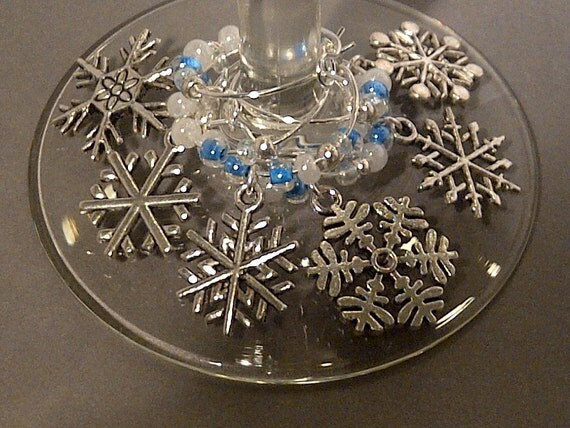 Let it Snow Wine Charm Set of 6 - Snowflake Charms with Blue and White Beads - FromAppalachia