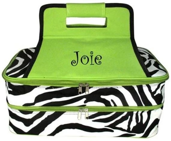 Lime Green Trim Zebra Insulated Double Casserole Free Embroidery - MonogramExpress