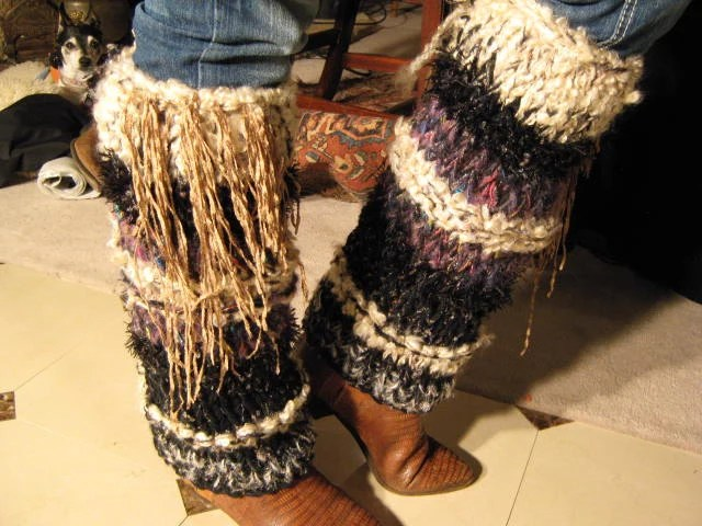 Hand-knit legwarmer (black with elegant rich  peacock colors,  purple, reds, and off white stripes)