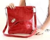 Leather tote bag for day or night, red color, messenger bag,women bag,crossbody bag - KishaDesigns