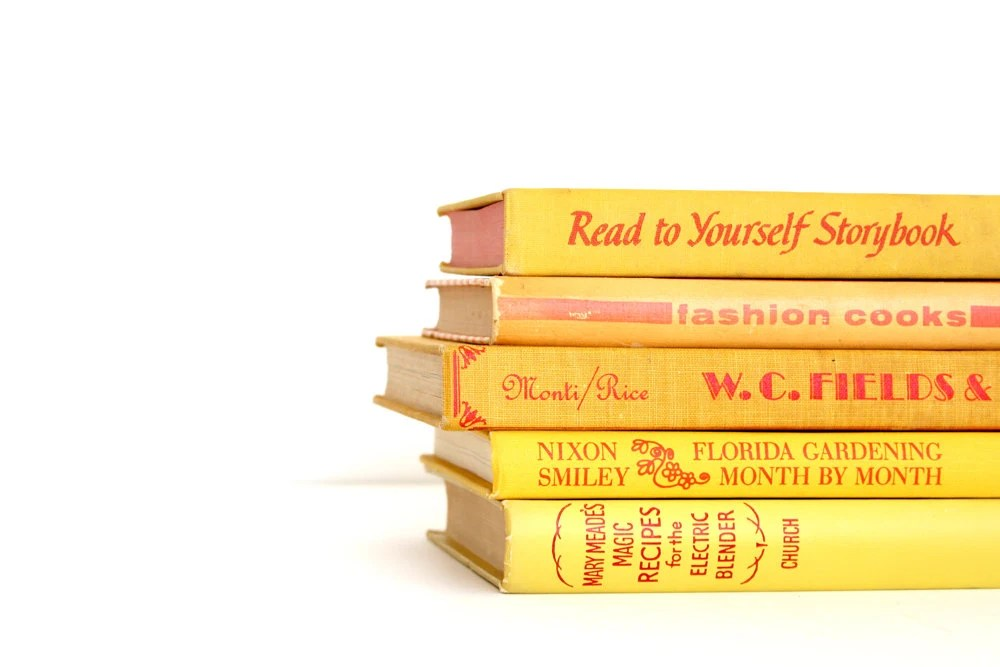 Yellow with Red Lettering Book Collection - Vintage Book Decor - Bright Yellow Red - Modern Set of Books - VintageScholar