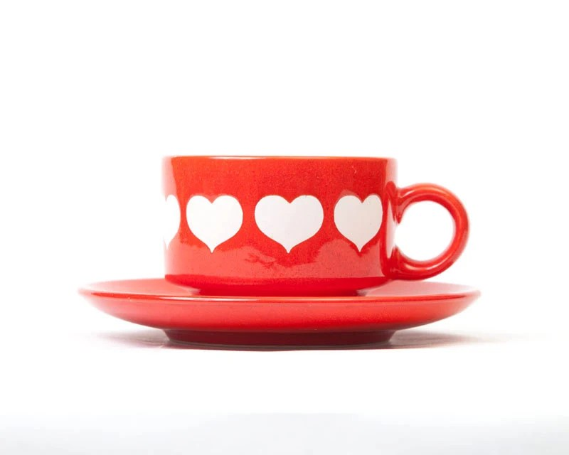 Vintage Waechtersbach Red White Hearts Cup and Saucer, West Germany, valentine, vestiesteam