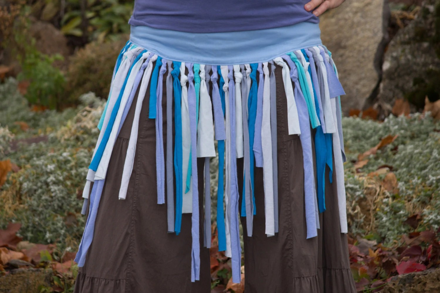 Upcycled Fringe Corset Tie Belt Skirt Made to Order