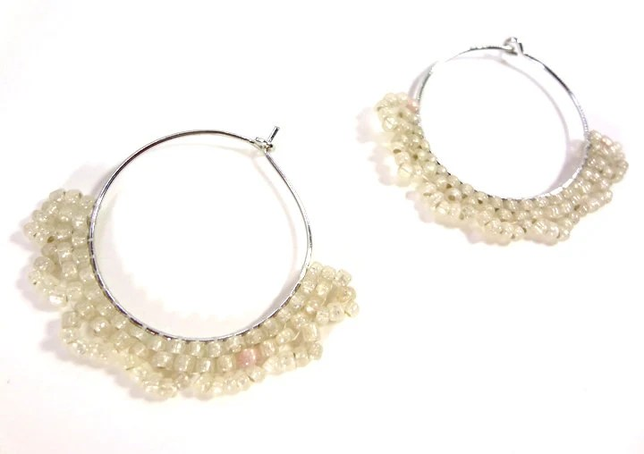 Hoop Earrings Beaded with Soft Eggshell White Dangles - MegansBeadedDesigns