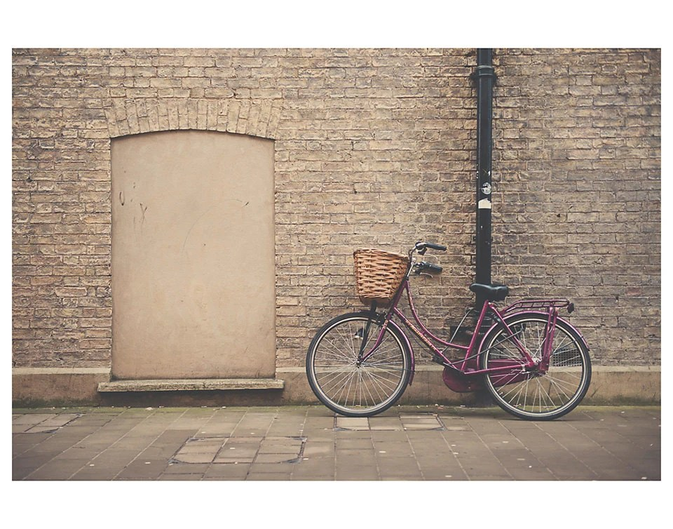 maroon purple bike cambridge photo print - whimsical fine art color photography, wheels, wall, brick, transport - 14x11 - oohprettyshiny