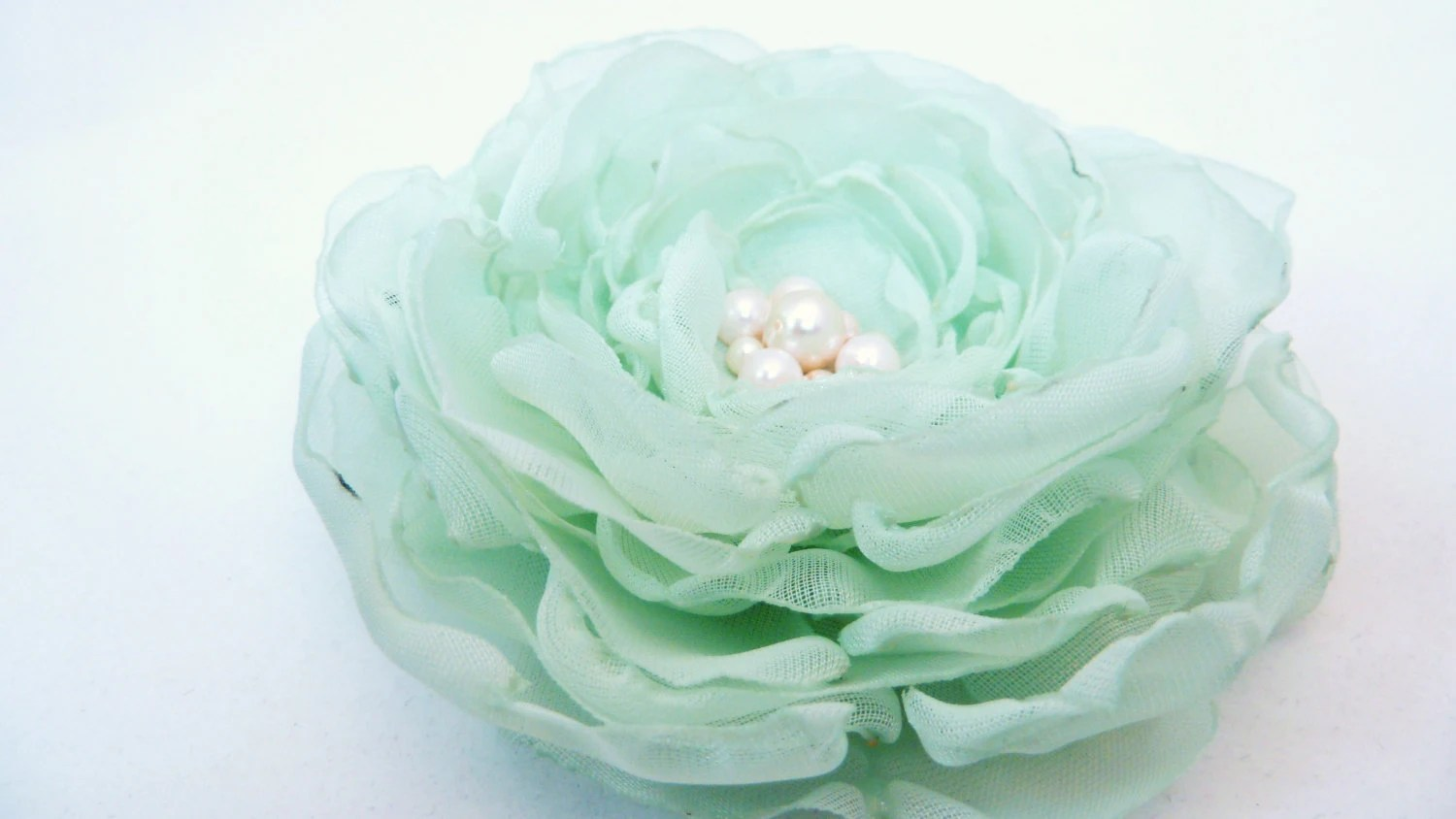 Soft and Romantic Mint Green, Seafoam, Pistachio Chiffon Flower Brooch, Hair clip or Applique, Spring or Summer Bridal Party, Easter, Prom, - BananaSueBoutique