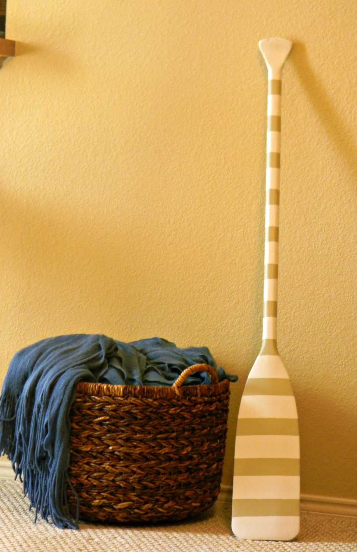 Handpainted vintage striped Oar