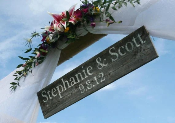 bride and groom wedding sign