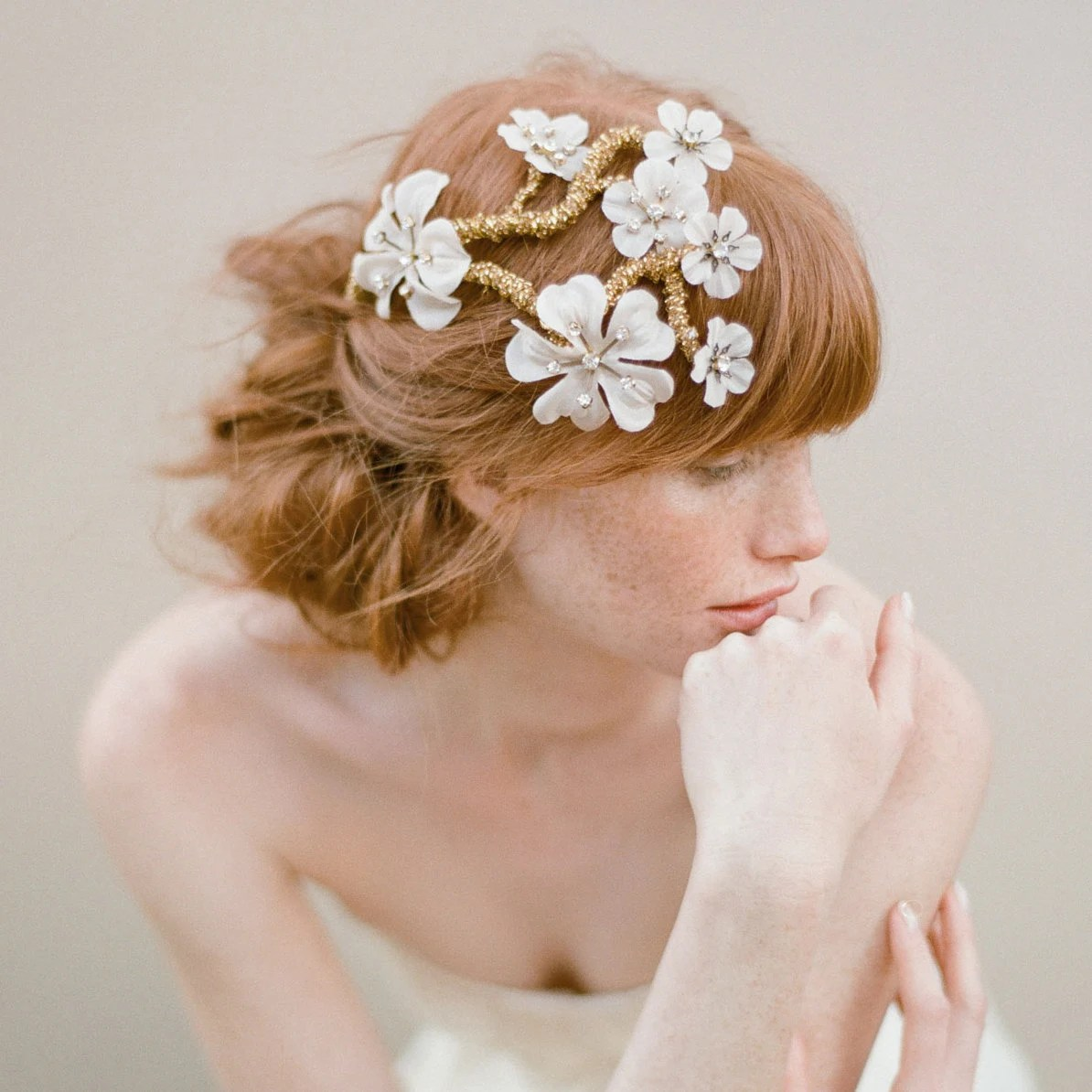 Bridal hair flowers, silk flower, hair vine comb, Apple blossom branch headpiece - Style 345
