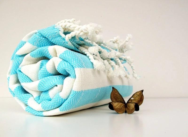 NATURAL Cotton,Handwoven Light Blue Stripe Towel,Eco Friendly PESHTEMAL,High Quality Turkish Cotton Bath,Beach,Spa,Yoga,Pool Towel - loovee