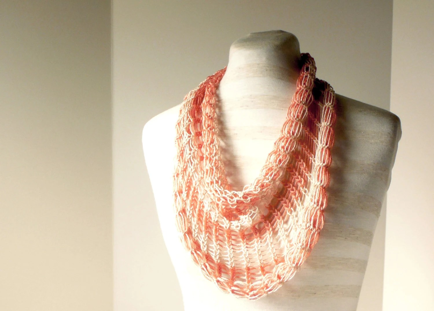 Coral and Cream Striped Cowl - CelebratedLady
