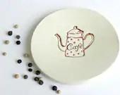 Ceramic Plate Coffe Lovers Dish Small Pottery Red Dots Pot Kitchen Deco - Ceraminic