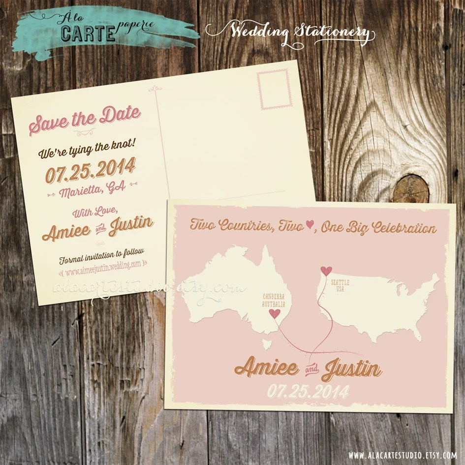 Two Countries, Two Hearts, One big celebration Save the Date Postcard - Wedding Stationary