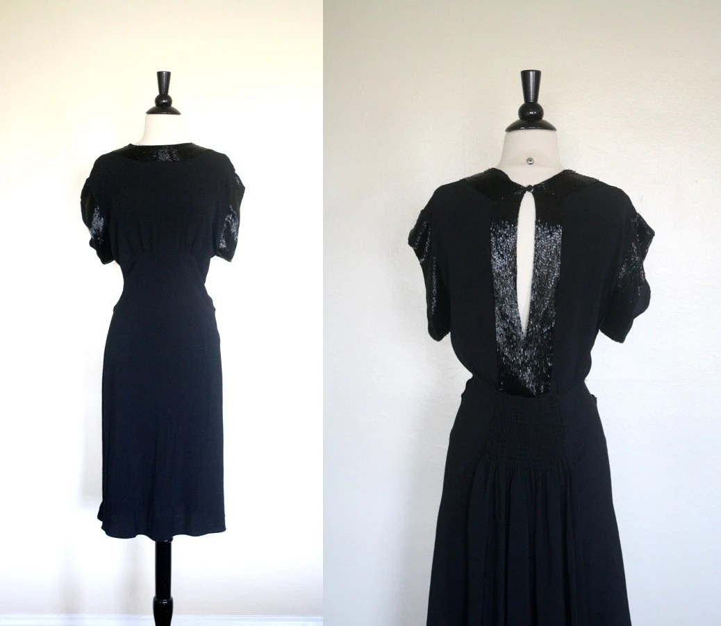 Vintage 20s Dress / Black Rayon Crepe Dress / 1920s Beaded Flapper Dress M L